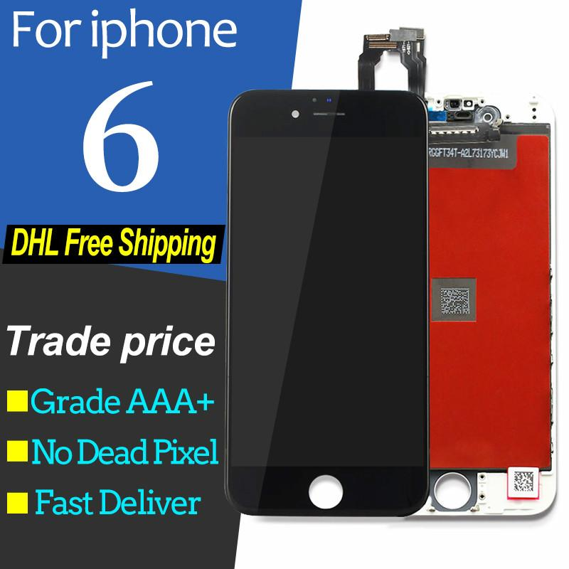 For iPhone 6 lcd Touch Screen Digitizer Replacement Assembly for iPhone 6  LCD Display Black White for iPhone6 & free shipping