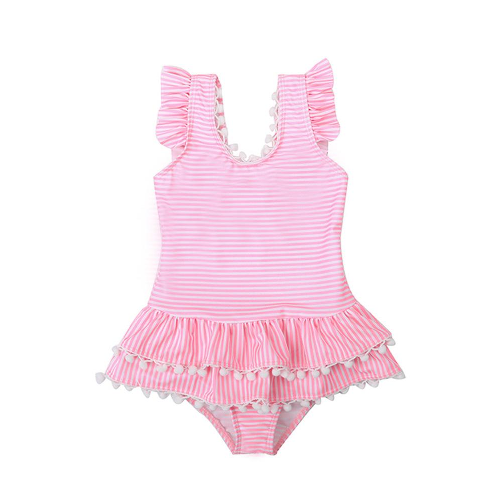 c27aa35ab10 Cute kids Swimsuits Bathing suit One-piece Swimwear Ruffled Petals Trim  Fresh Striped Blue Pink Wholesale Export 2019 Summer Boutique BY0970