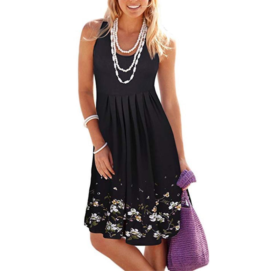 839361065803 Women Summer Casual Dresses Scoop Neck Sleeveless Print Pleated Tank Vest  Mini Dresses Knee Length Sundress Loose Black Women In Dresses Long  Sundresses On ...