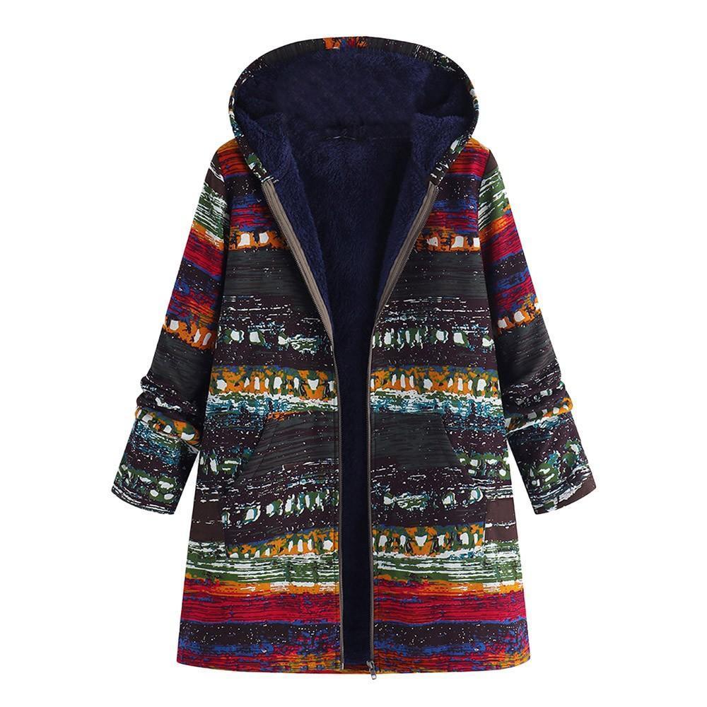 196b3d1a9 Plus Size 5XL Winter Jacket Long Coat Women Fashion 2018 Vintage Print  Hooded Woman Jackets Parka Womens Tops And Blouses