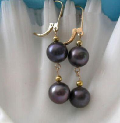 9-10mm round south sea black pearl dangle earring 14k/20 yellow gold