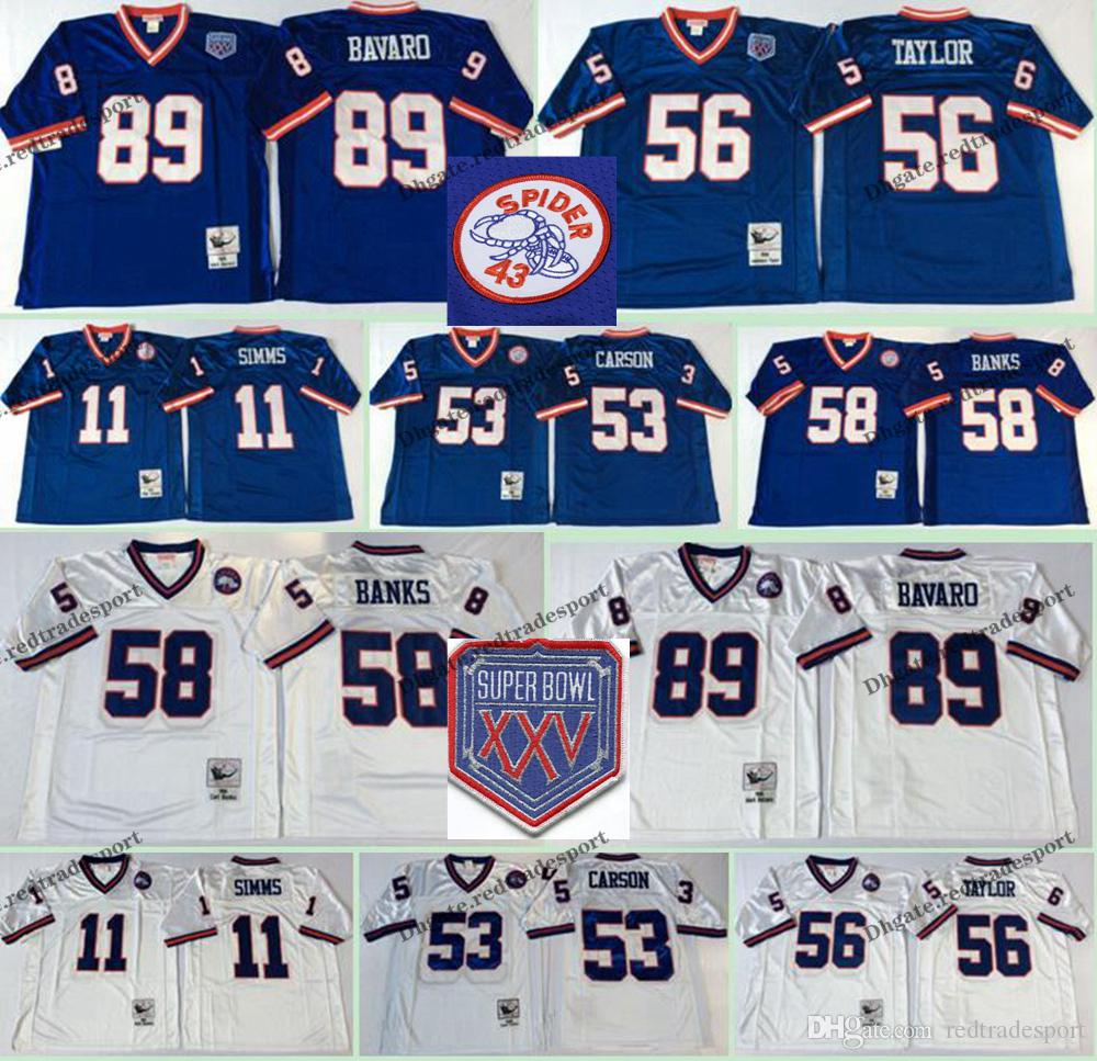 buy online 40fa4 cf0e9 Vintage New York Taylor Giants Blue 11 Phil Simms 53 Harry Carson 56  Lawrence Taylor 58 Carl Banks 89 Mark Bavaro Football Jerseys