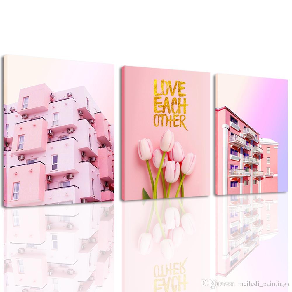 Leinwand Wandkunst 3 Panel Rosa Tulpe und Villa Malerei Warme Farbe Stil  Wandbild Wanddekor für Schlafzimmer Teen Mädchen zimmer
