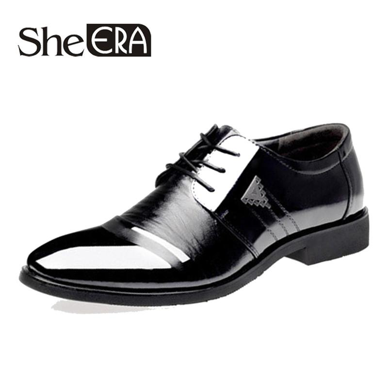 She Era Male Shoes New 2018 Men Formal Dress Shoes Oxford Men Leather Lace Up Pointed Toe British Style Size 45