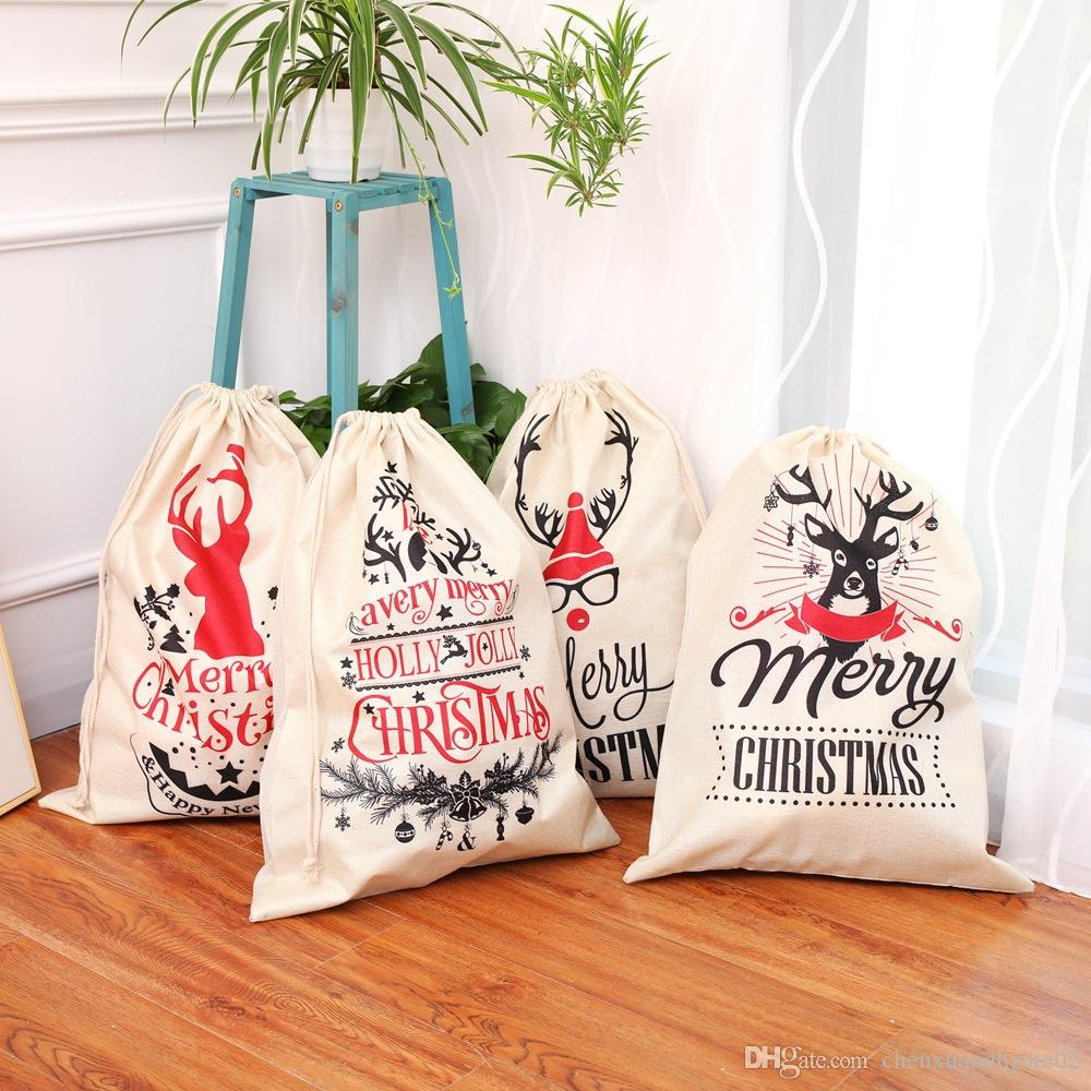 Christmas Gifts For College Students 2019.2019 Christmas Gift Bags Large Organic Heavy Canvas Bag Santa Sack Drawstring Bag With Reindeers Santa Claus Sack Bags