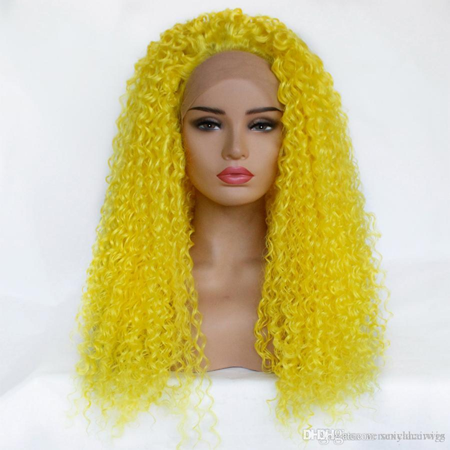 New Sexy Cosplay Yellow Kinky Curly Synthetic