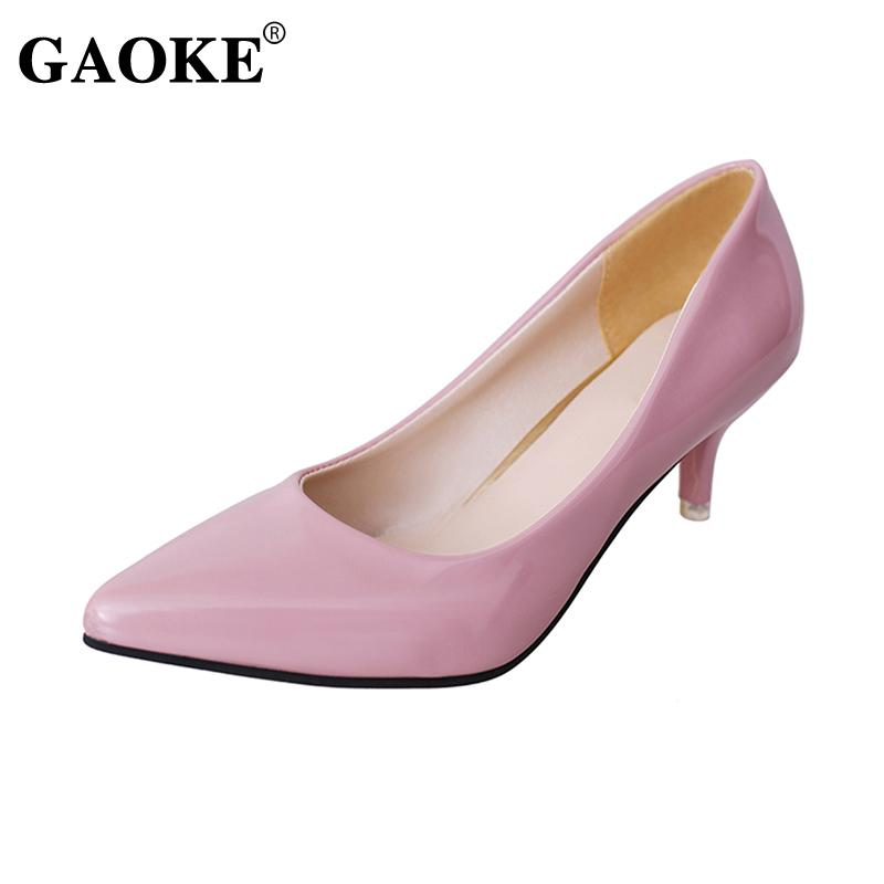 384423f5ca4a 2019 Dress Autumn New Women Low Heel Shoes Pointed Toe Women Shallow  Platform Pumps Pink Bridal Wedding Shoes Boat Office OL Style Shoes Scholl  Shoes Silver ...