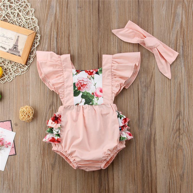 Abiti per neonate estive Stampa floreale Girocollo senza maniche con volant Body Fascia 2 pezzi Abiti per bambini per bambina