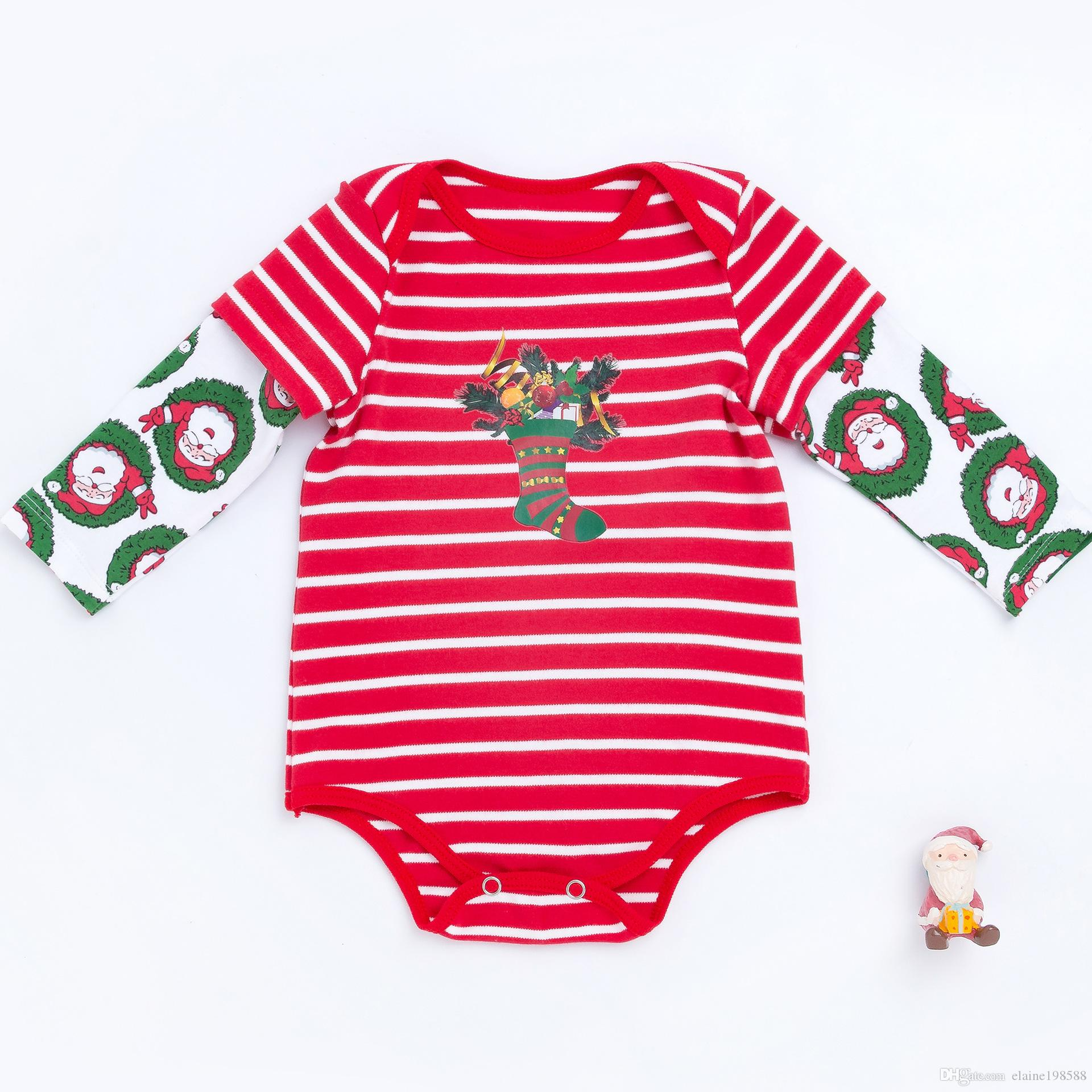9f7c9d42651 2019 Christmas Baby Bodysuits Autumn Winter Cotton Full Sleeves Baby  Jumpsuits 0 24 Months Newborn Infant Santa Claus Rompers Xmas Party Costume  From ...