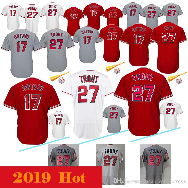 newest b9c7d c5656 27 Mike Trout Los Angeles Angels Jersey 17 Shohei Ohtani Majestic Scarlet  Alternate Flex Base CoolBase Authentic Collection Jerseys