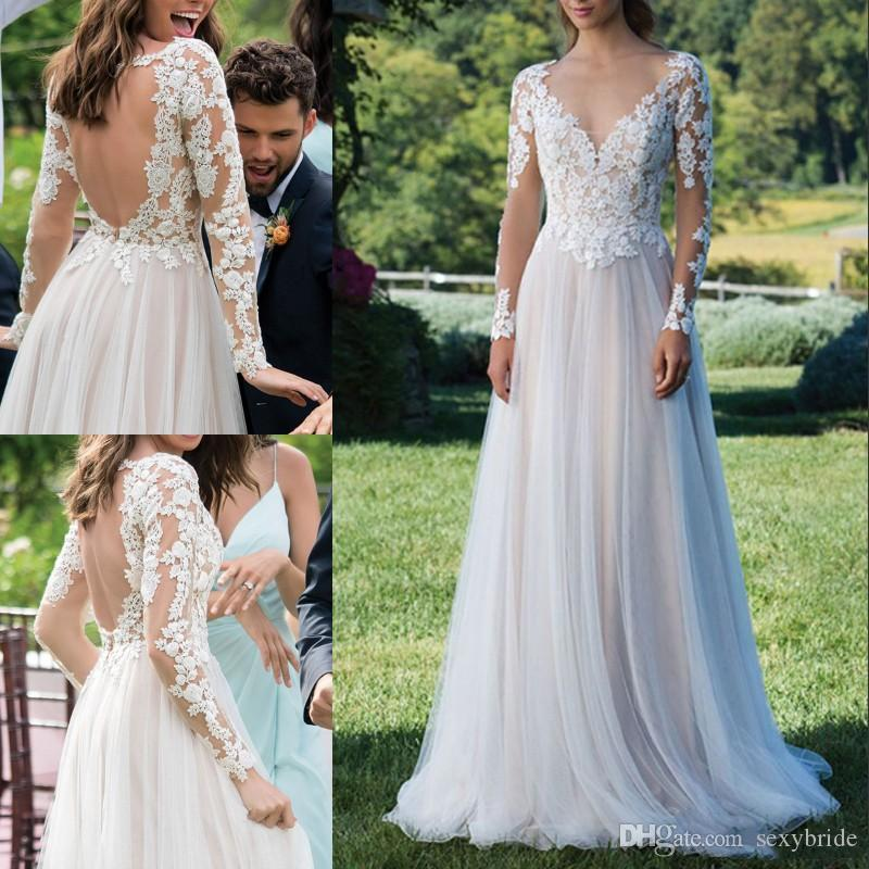 Sexy Open Back Beach Boho Wedding Dresses A Line New 2019 Illusion Long Sleeves Lace Applique Cheap Floor Length Bridal Gowns Deep V-Neck
