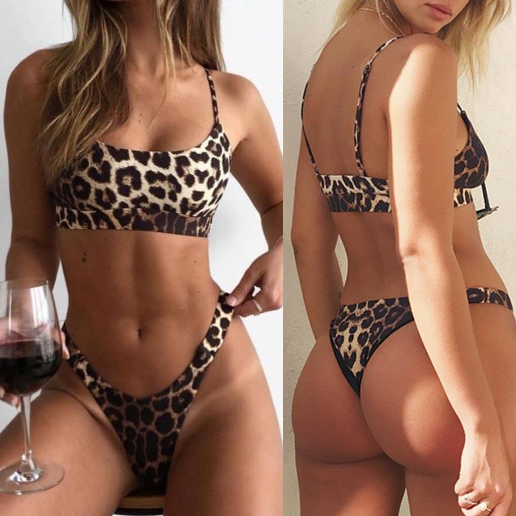 Bikini Sexy Women Sexy Fashion Leopard Print Push-Up Padded Bra Beach Bikini Set Swimsuit Beach Bathing female Leopard Suit