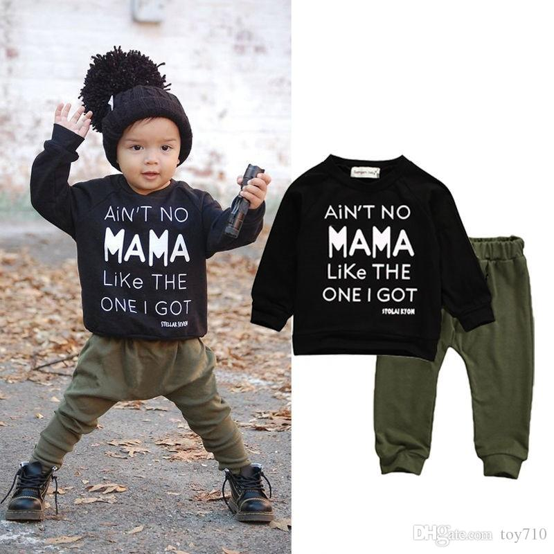 9b7bbbc215268 Newborn Toddler Kids Baby Boy Clothes Sets Casual Letter Printing Autumn  Winter Outwear Sets Tracksuit T-shirt Top Pant Outfits