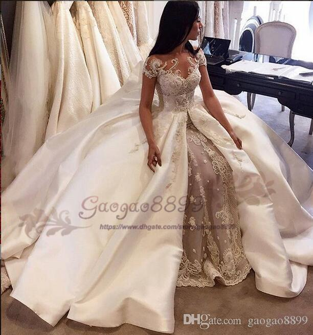 2019 Champagne Robe De Mariage A-Line Wedding Dresses lace appliques stain sweep Train jewel Neck Custom Made Vestidos De Novia Bridal Gowns