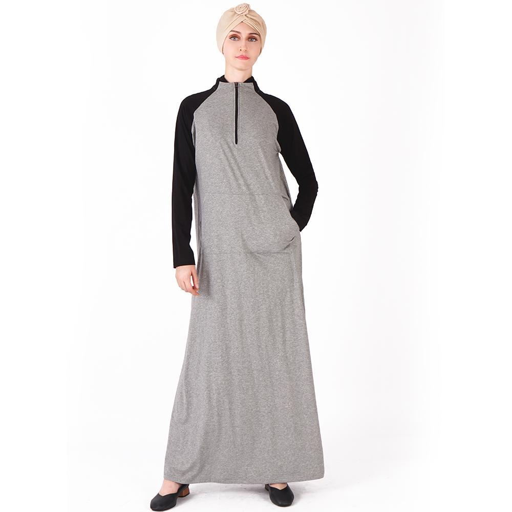 c2abfb0a2 Compre Outono Inverno Algodão Abaya Preto Cinza Esporte Longo Vestido  Comprimento Árabe Caftan Turquia Oriente Médio Mulheres Muçulmanas Vestido  De Xinpiao