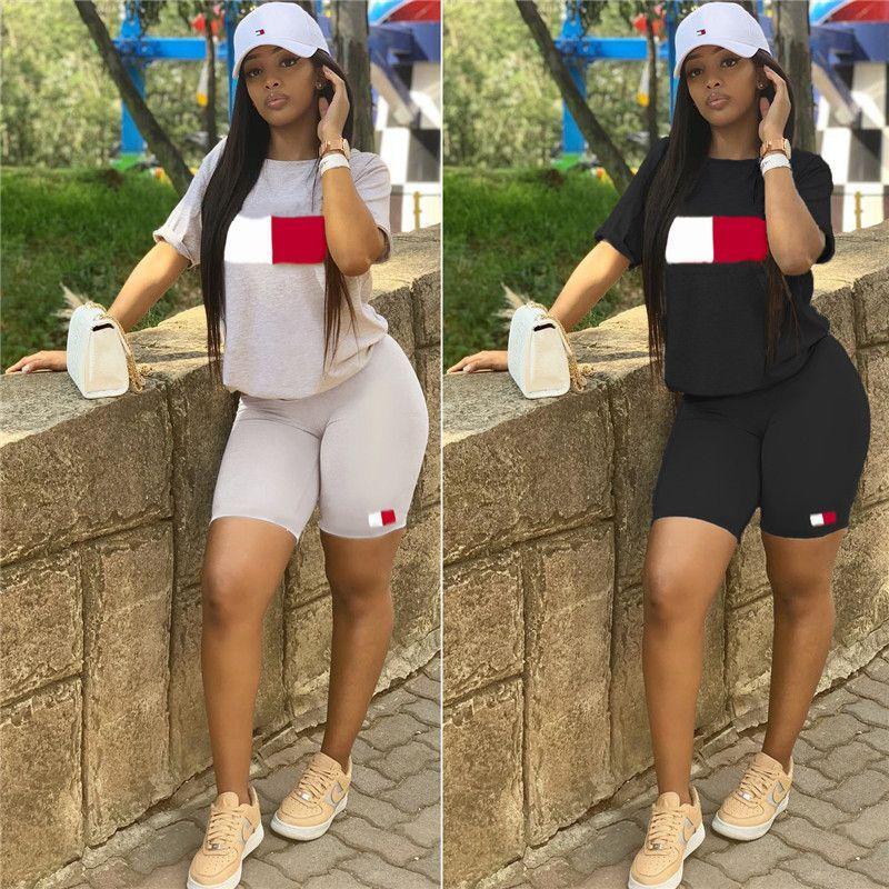 afcb9505c 2019 TM Letters Designer Womens Shorts Set Summer Tracksuit Short Sleeve T  Shirt Shorts Bodysuit Streetwear Sports Suit Sportswear A52108 From ...