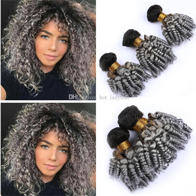 Black and Gray Funmi Curly Virgin Hair 3 Bundles Deals 1B/Grey Two Tone Ombre Bouncy Spiral Curls Human Hair Weave Wefts Extensions
