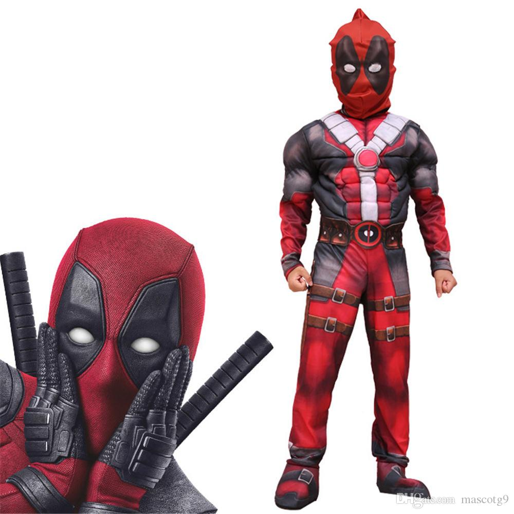 New Arrival Deluxe Boys Anti-Hero Deadpool Children Muscle Movie Halloween Carnival Party Cosplay Costume