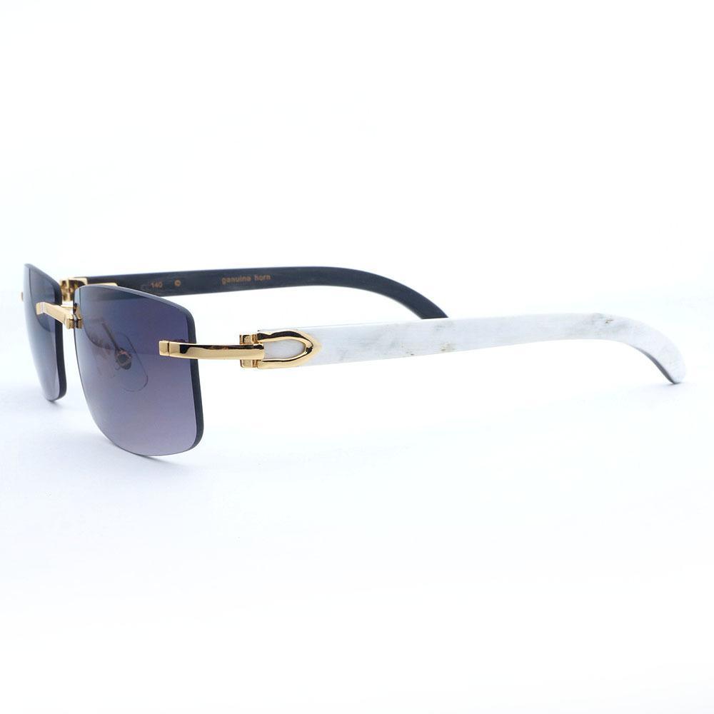 1c2964ed79 White Inside Black Buffal Horn Sunglasses Men Rimless Square Sun Glasses  Luxury Goggles Retro Eyewear Vintage Fishing Shades C19022501 Polarised  Sunglasses ...