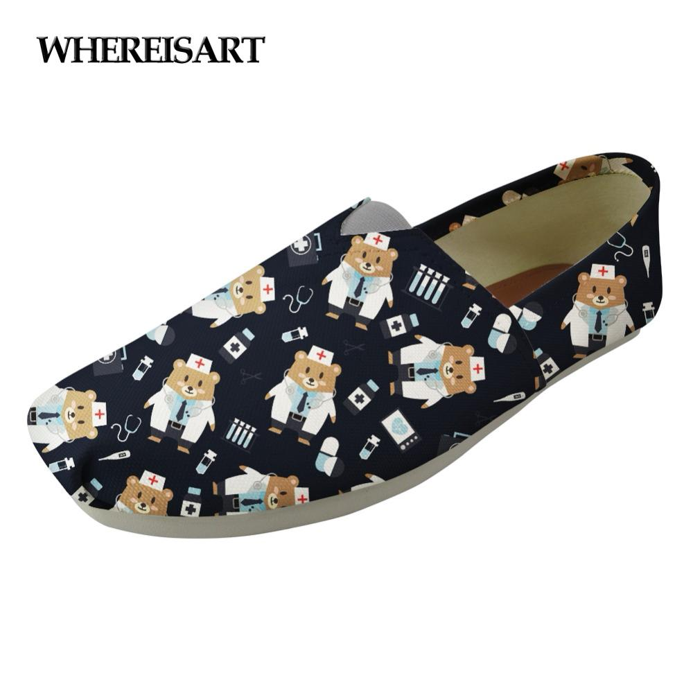 WHEREISART Brand Designer Flats Shoes Women Cute Nursing Bear Print Breathable Lightweight Lazy Shoes for Girls Casual Canvas