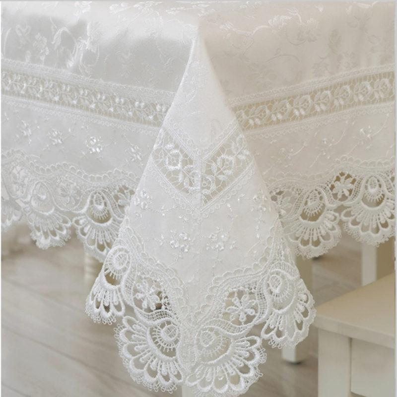 Embroidery Lace Tablecloth Table Linen Tablecloth White Lace Table Cloth  Round Cover Towels