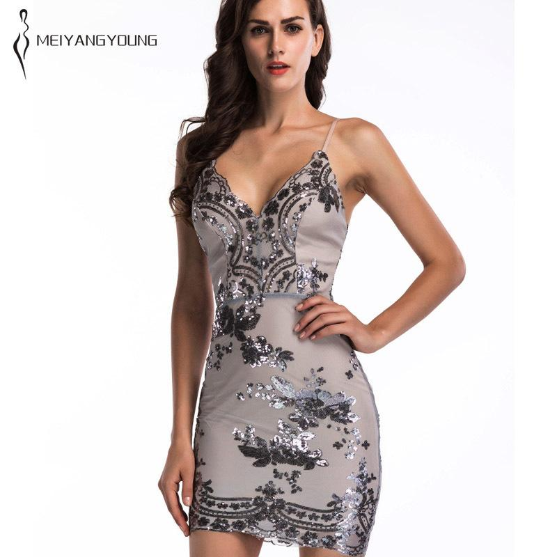 2019 Sexy Tight Strap Sequin Dress Elegant Women Brilliant Shiny Black Mini  Sling Wrap Party Dress White Summer Backless Clothes Club D19011604 From ... a1e5dea59cf3