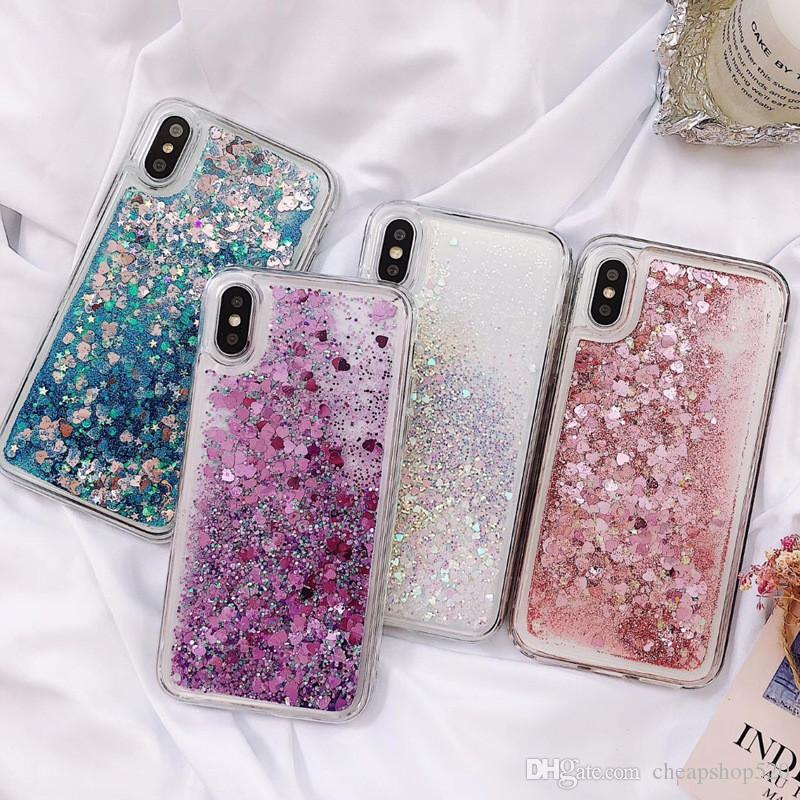IPhone Case Fresh love star sequins white glittering sand mobile phone case for iPhone X 8 7 6 6s 5 5s Plus