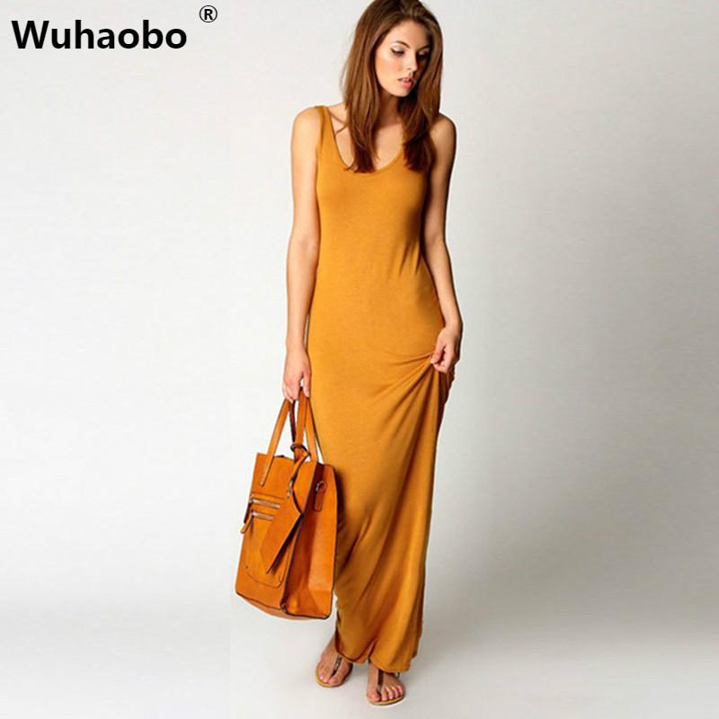 6ace4aa633e73 Wuhaobo Sexy Summer Long Dress Women Vest Tank Maxi Dress Elegant Solid  Vintage Boho Ukraine Girl Beach Clothes Vestidos