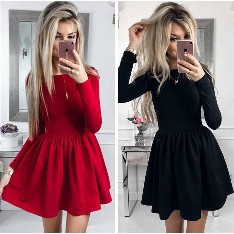 e3d0409a4924c Casual Fall 2018 Women Long Sleeve Solid Color Fluffy Dress Autumn ...