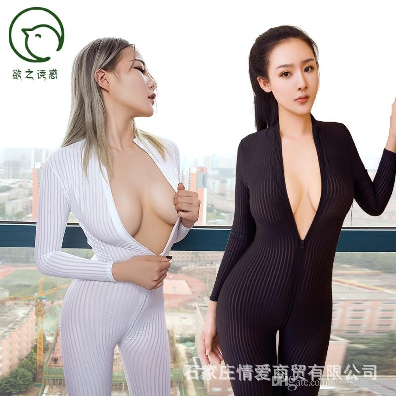 51ed41f22a5 2019 ZOGAA Dame Black White Striped Sheer Sexy Bodysuit Smooth Fiber 2  Zipper Long Sleeve Jumpsuit  400922 From World wind