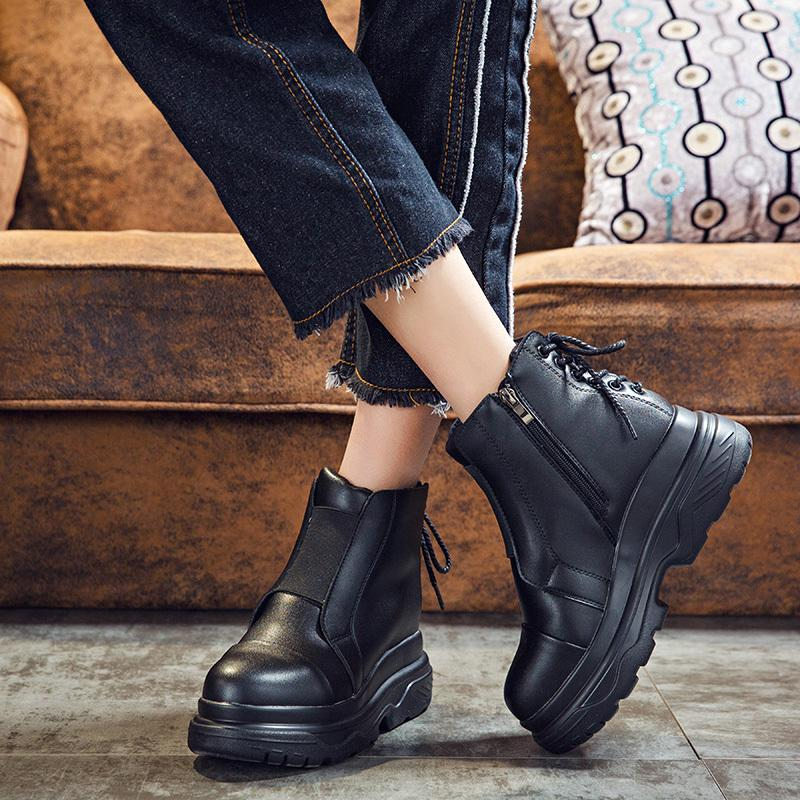4aaa4626796 New Fall Winter Boots Women Thick Sole Platform Ankle Boots Back Shoelace  Cross Tied PU Leather Flat Boots Black Fashion Shoes Winter Shoes From  Chinain1988 ...
