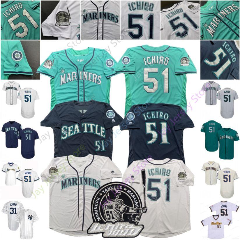 huge discount e325c 5ba5e 2019 Ichiro Suzuki Jersey Japan Blue Wave Seattle Yankees Mariners With  3000th Hit Patch Men Women Youth Kid Cheap