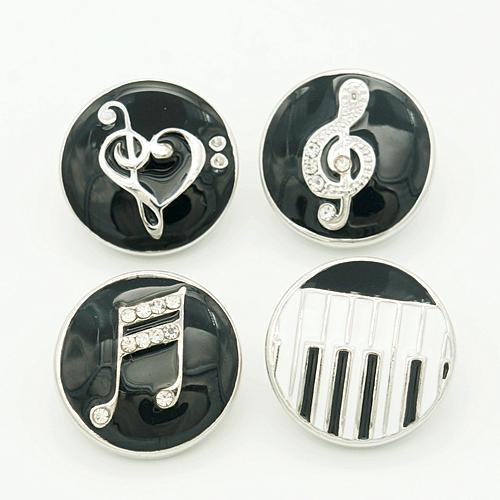 Wholesale- 18MM Round Black Drip musical note Metal charm snap buttons KZ1035 for DIY charm snap bracelet jewelry charm wholesale