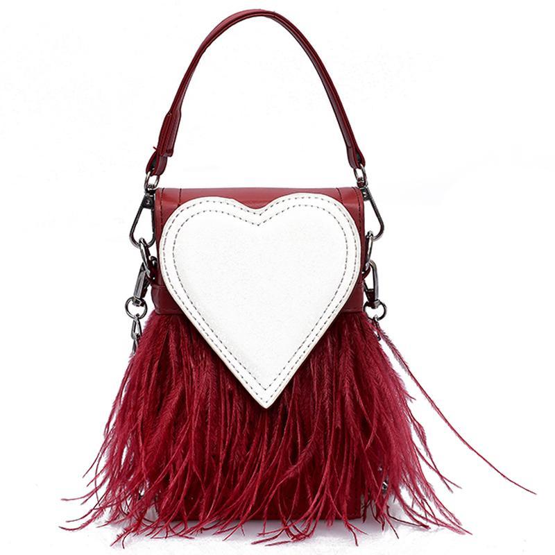 87255d92d37 Sweet Lady Mini Tote bag 2018 New Fashion Quality PU Leather Women's  Designer Handbag Party Feather Chain Shoulder Messenger bag