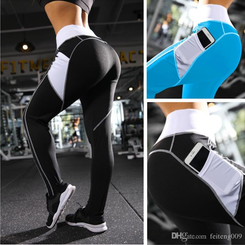 f391a9b5aa384 2019 Yoga Pants Women Fitness Leggings With Pockets Stretchy Slim High Waist  Yoga Leggings Sport Pants Hip Up Running Tights Gym Wear #799398 From ...
