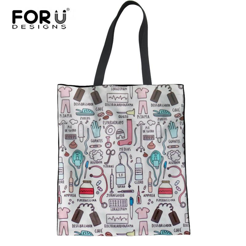 5d7d0cc2bb FORUDESIGNS Eco Friendly Canvas Shopping Bag Casual Reusable Folded  Shoulder Bag Ladies Women Nurse Print Linen Laige Tote Bags Backpacks  Handbags From ...