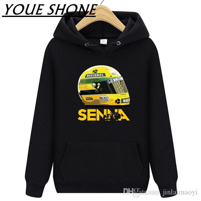 73da78429ae 2019 1 Race Ayrton Senna Helmet Mens Hoodies Sweatshirt Man Women Fleece  Hooded Sportwear Coat Outdoor Hiking Windproof Warm Pullover Tee Clothes  From ...