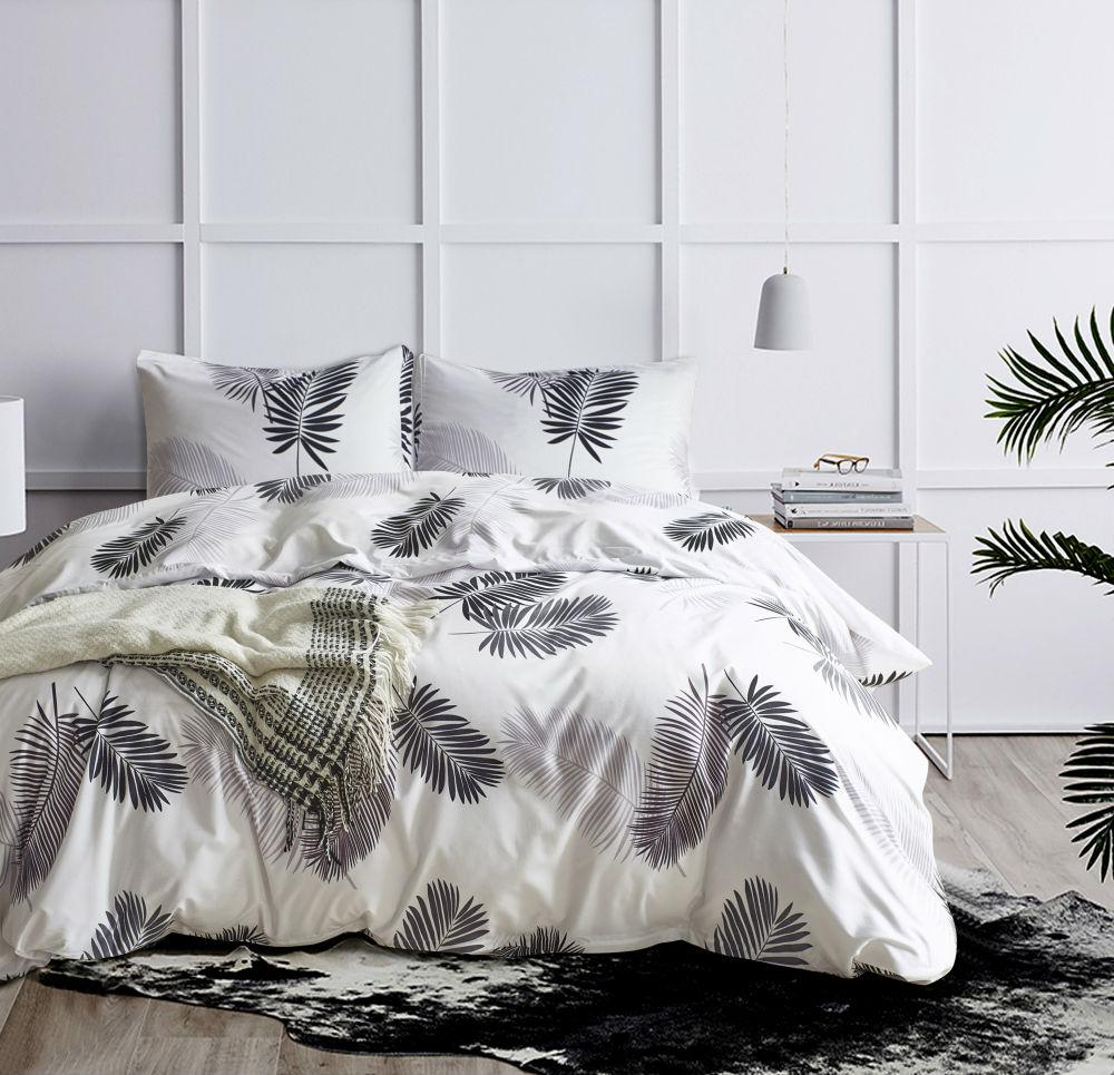 Black White Bed Cover Set 2green Gold Palm Leaves Bedding Set Twin