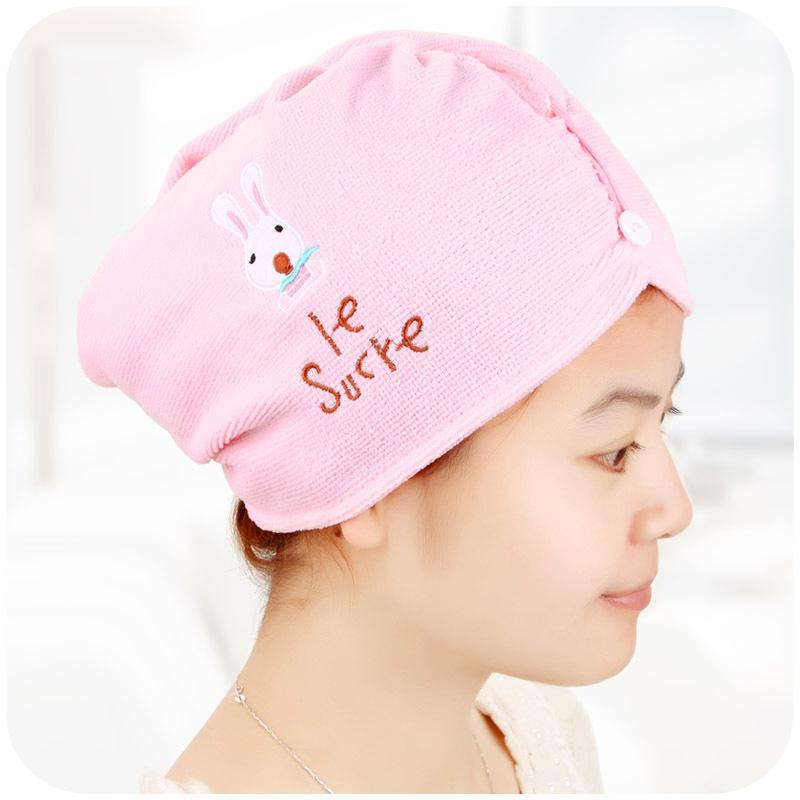 New Lovely Style Hair Drying Towel Fast Dry Hair Cap Hat Turban Microfibre For Bath Towel towels bathroom
