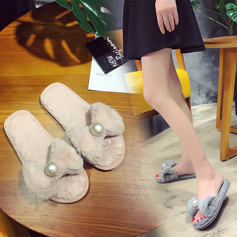4d95ee0579bcab New 2019 Slippers Women Flip Flops Fluffy Faux Fur Flat Sandals ...