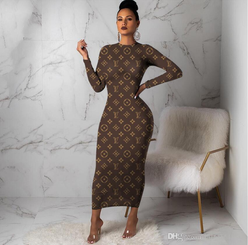 S-XXXL Autumn Women Crew Neck Long sleeves Maxi dresses sexy Brown Letter Print Casual Dresses Long Bodycon Party Dress