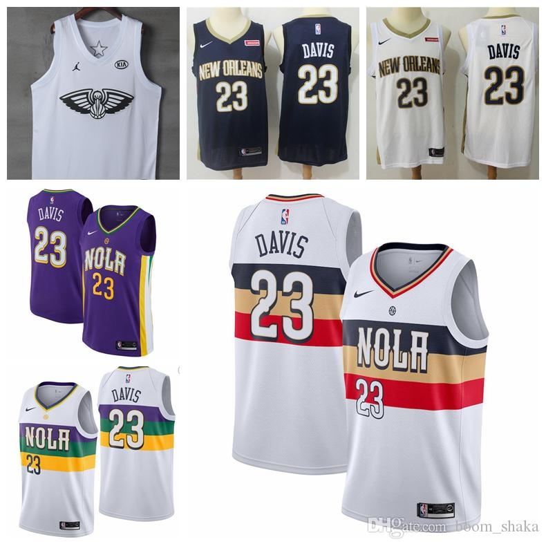 huge selection of b5d12 61353 2019 Mens 23 Anthony Davi New Orleans Jersey Pelicans Basketball Jerseys  New The City Edition Purple White Anthony Davis 23 Jerseys Stitched