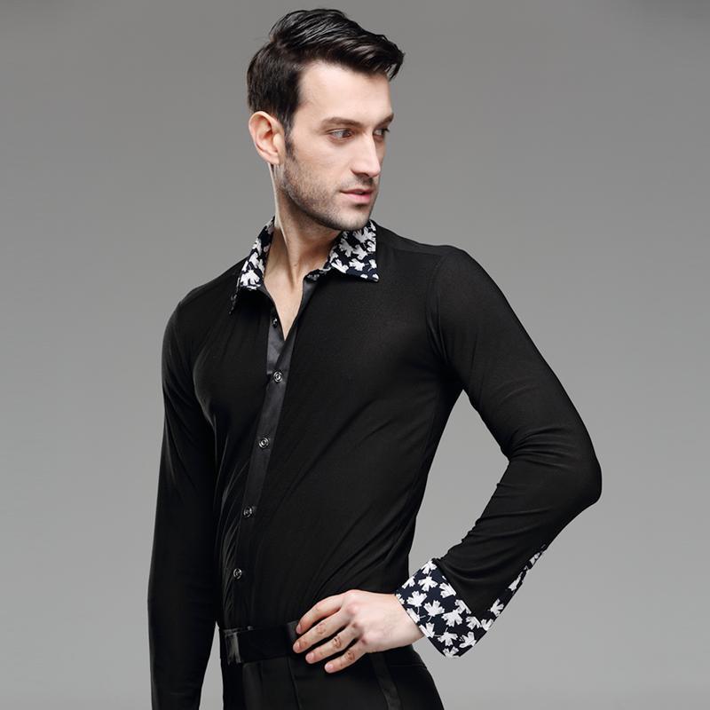 27ca468c1 Nuevo Camisa de baile para hombre Collar de impresión Competencia estándar  Rendimiento Salón Moderno Salsa Tango Samba Hombre Latina Tops Ropa de ...