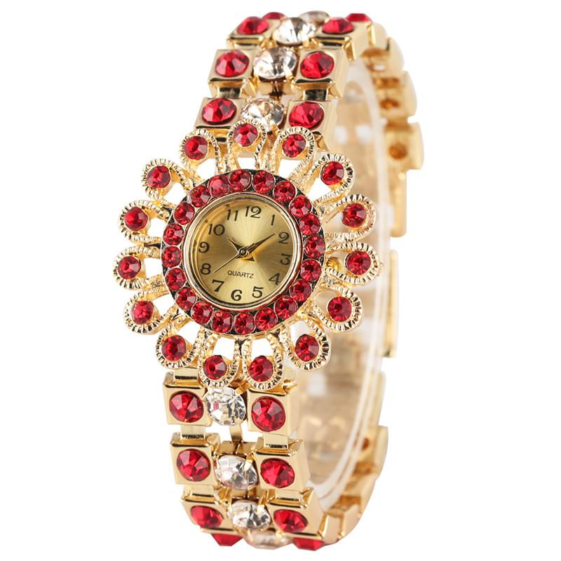Crystal Diamond Strap Quartz Watch Women Bracelet Elegant Retro Court Style Bangle Watch Unique Sun Flower Case Bracelet Watches