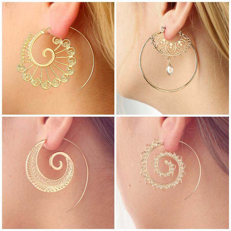 2a68c59ab 2019 Ethnic Swirl Hoop Earring For Women Silver Gold Color Geometric  Spirals Earrings Steampunk Gypsy Tribal Indian Jewelry L3E772 From  Nectarine99, ...