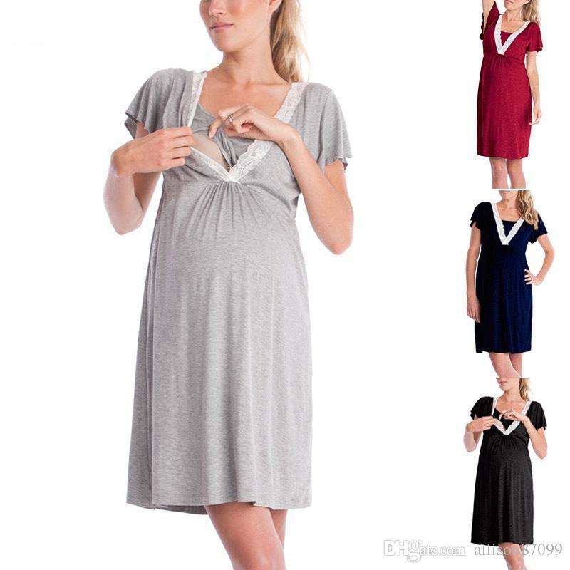 8f89c19be Compre Vestidos De Maternidad De Algodón Vestido De Encaje Embarazada  Cuello En V Mamá Ropa De Enfermería Camisón Camisa Delgada Para Mamá 2019  Primavera ...