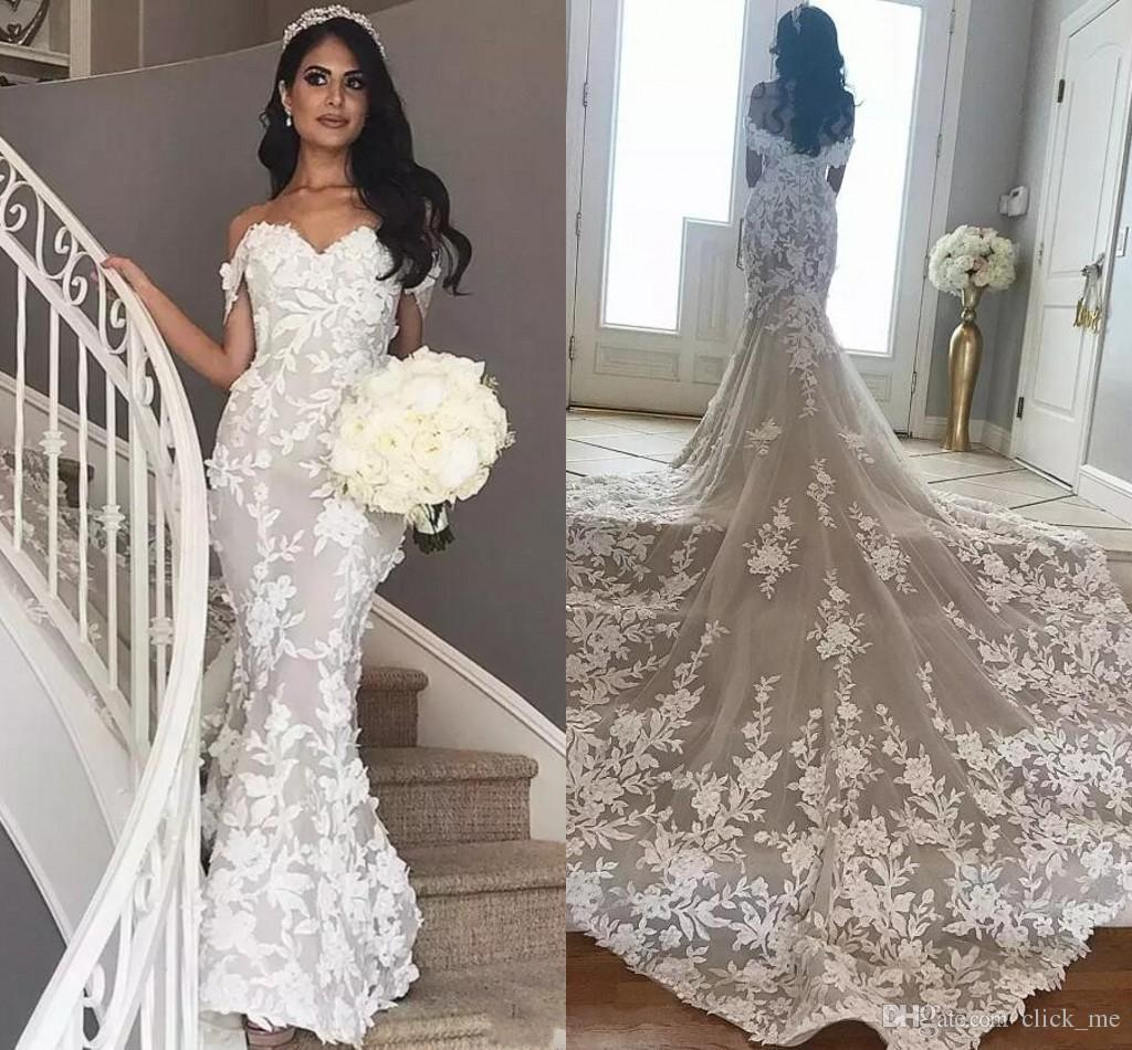 689594b149 African Mermaid Wedding Dresses Long Train Off The Shoulder 3D Appliqued Bridal  Gowns Chapel Train Trumpet Tulle Country Lace Wedding Dress Strapless ...
