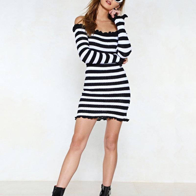 3cbac888b3 Spring 2019 New Women s Knitted Dresses Slim Stripe Printed Off-shoulder  Ear Edge Long Sleeve Bag hip Skirt