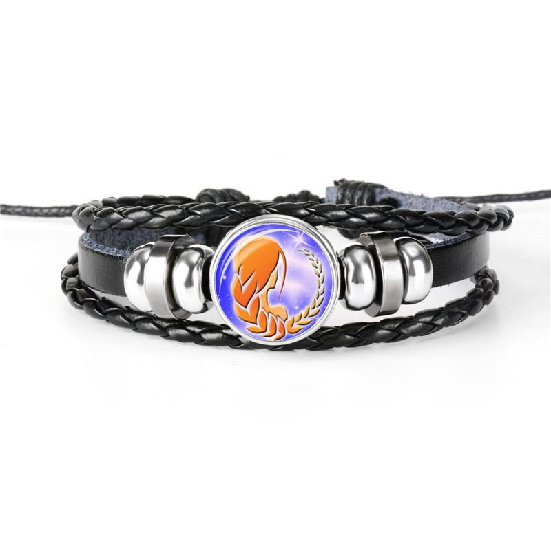 Fashion Braided Leather Rope Beaded Bracelet 12 Constellations Zodiac Virgo Time Gem Glass Cabochon Bangles Punk Women Men Wristband Jewelry