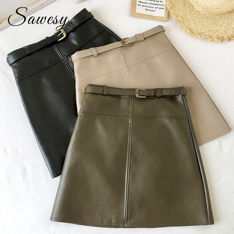 Compre Sexy PU De Cuero Mini Faldas Moda Para Mujer Nueva Llegada De  Cintura Alta Faldas Mujeres Con Cinturón Lápiz Falda Mujeres Negras Ropa A   15.08 Del ... 87219fb1b774